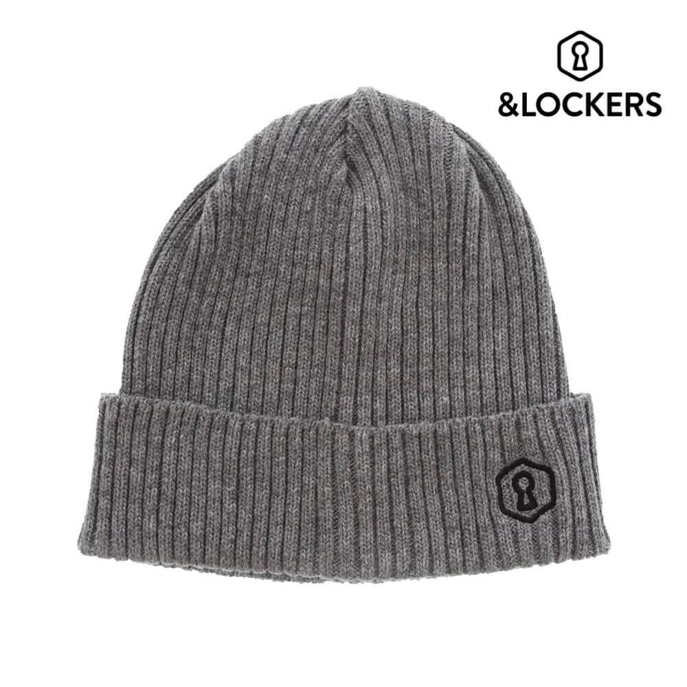 Rib knit cap gray